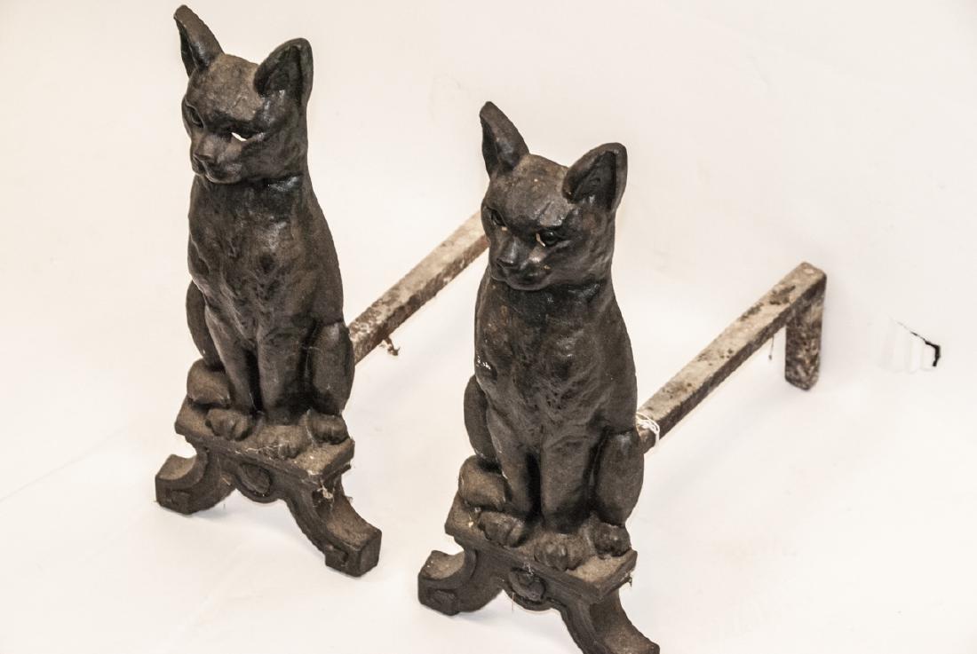 Pair of Antique Cast Iron Cat Form Andirons - 5