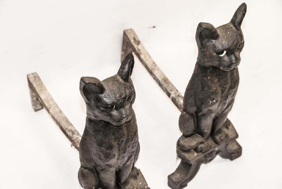 Pair of Antique Cast Iron Cat Form Andirons - 6