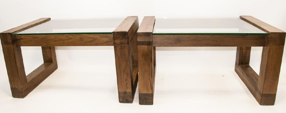 Pair of Mid C Wood & Glass Side Tables