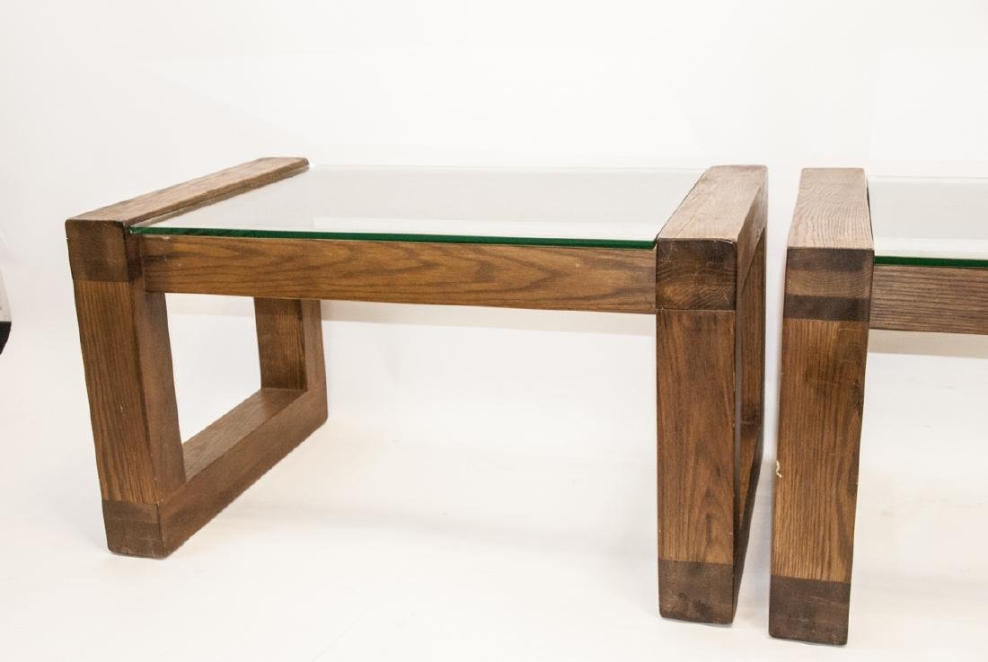 Pair of Mid C Wood & Glass Side Tables - 3
