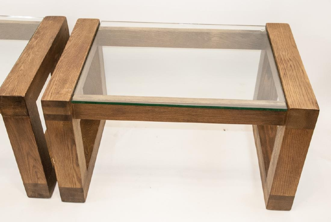 Pair of Mid C Wood & Glass Side Tables - 4