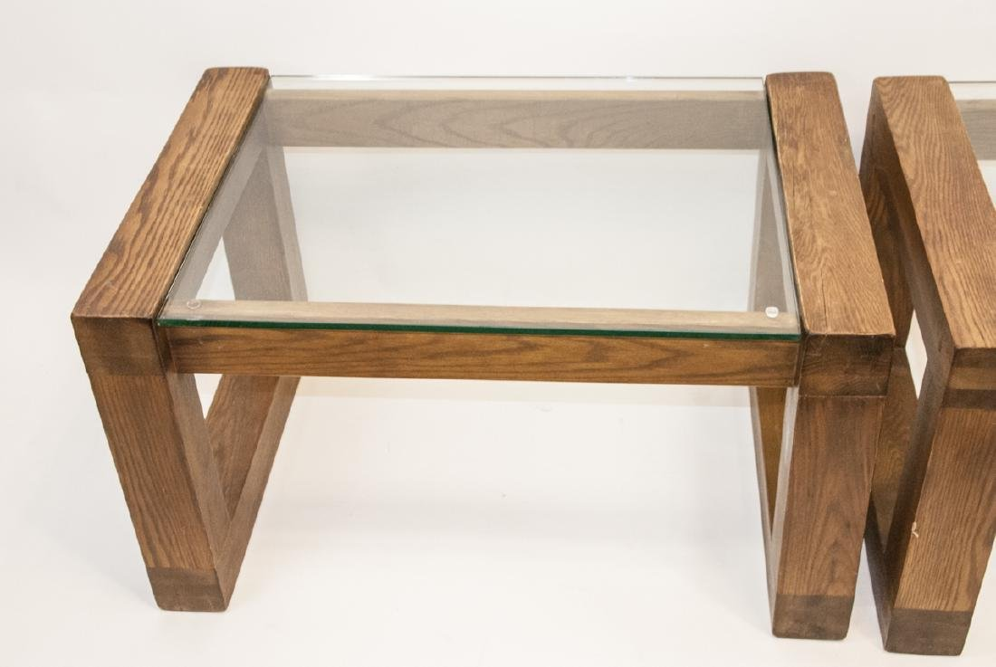 Pair of Mid C Wood & Glass Side Tables - 5