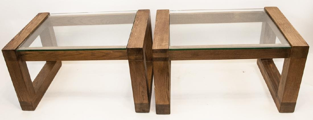 Pair of Mid C Wood & Glass Side Tables - 6