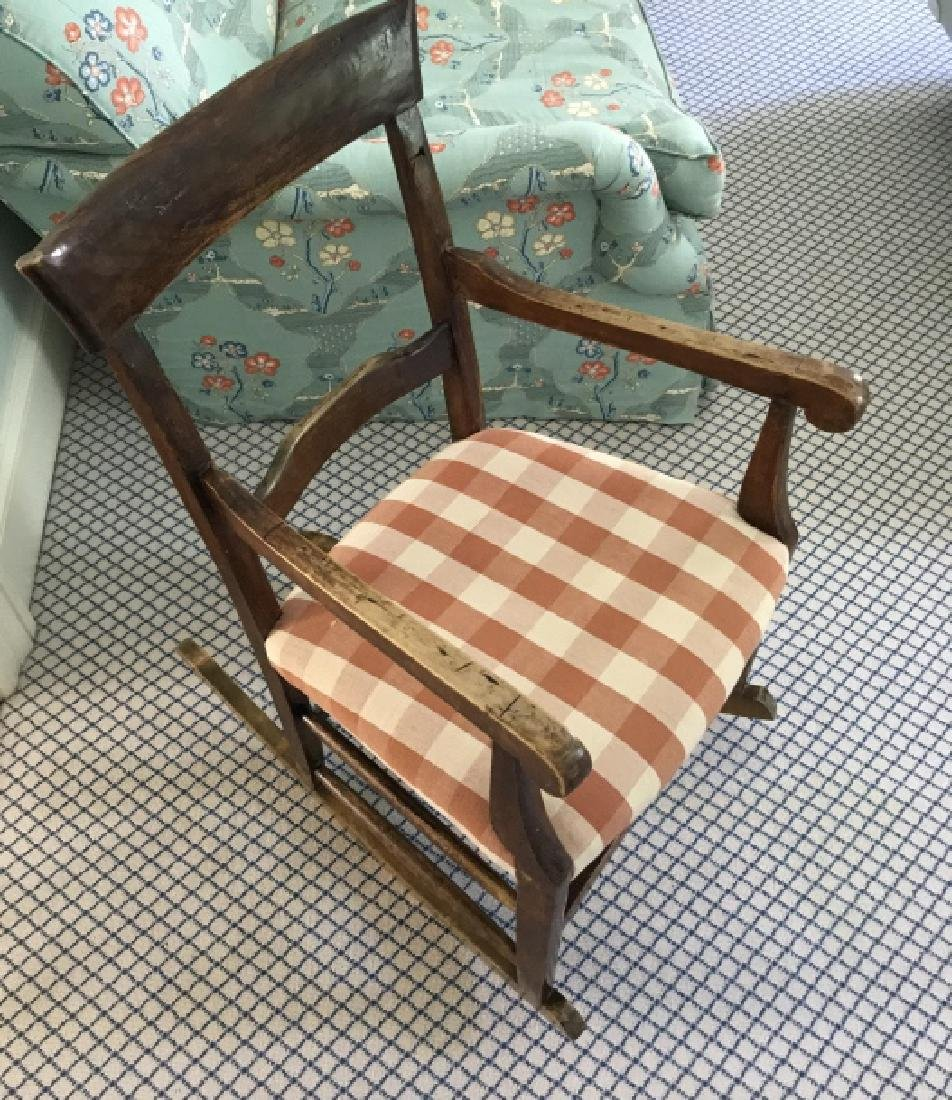 Antique Rocking Chair w Custom Upholstery