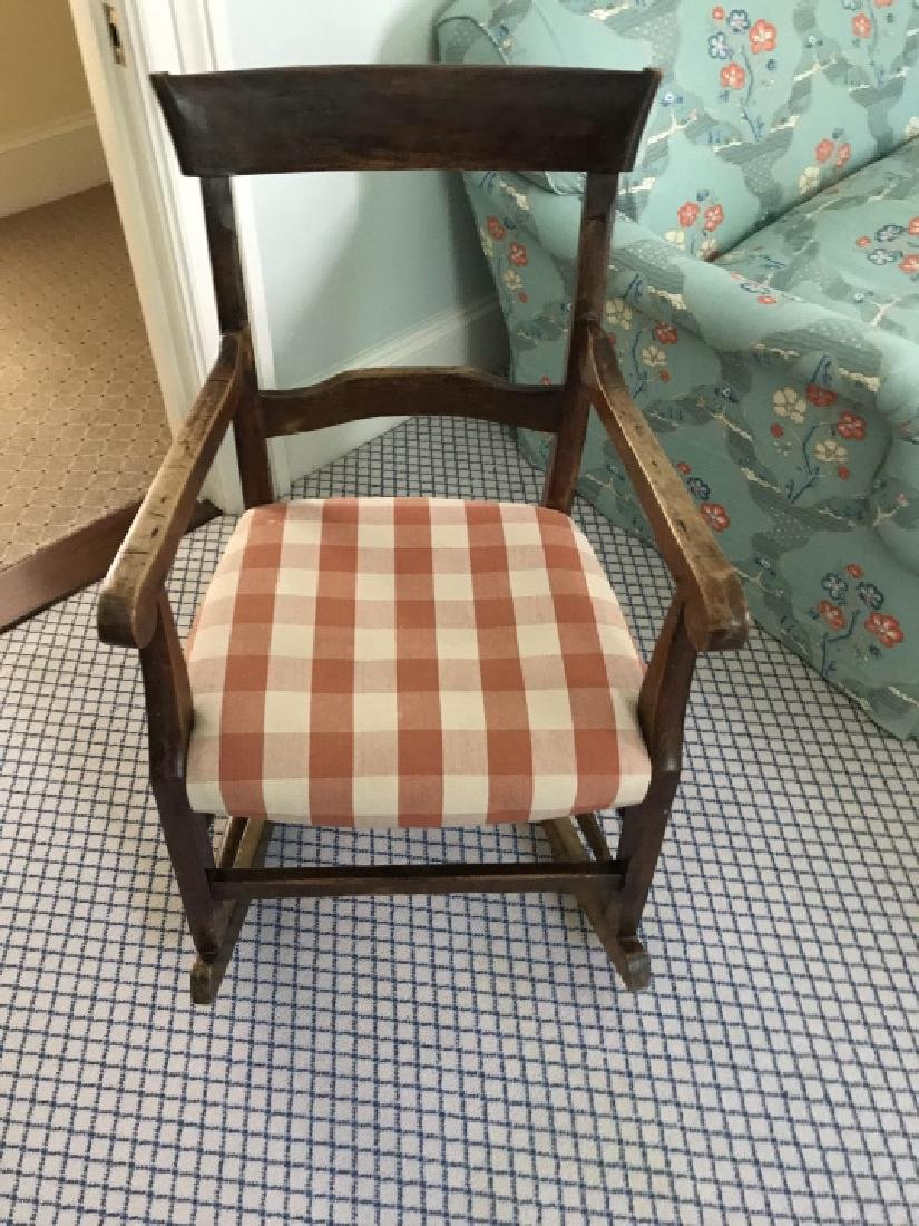 Antique Rocking Chair w Custom Upholstery - 2