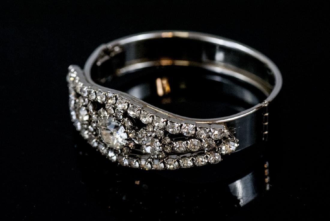 Vintage Rhinestone Hinged Bangle Bracelet - 3