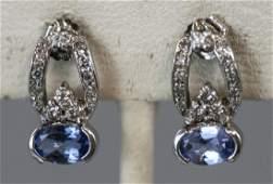 14kt White Gold Diamond  Tanzanite Earrings