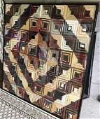 Antique 19th C American Folk Art Framed Quilt