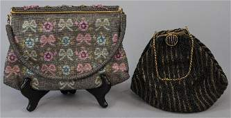 Two Antique Gold Tone Micro Beaded Purses