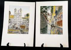 Two Italian Hand Painting Engravings Bela Sziklay