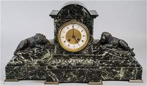 Antique French Carved Marble  Bronze Mantle Clock