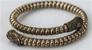 Antique 19th C Victorian Gold Coil Bangle Bracelet