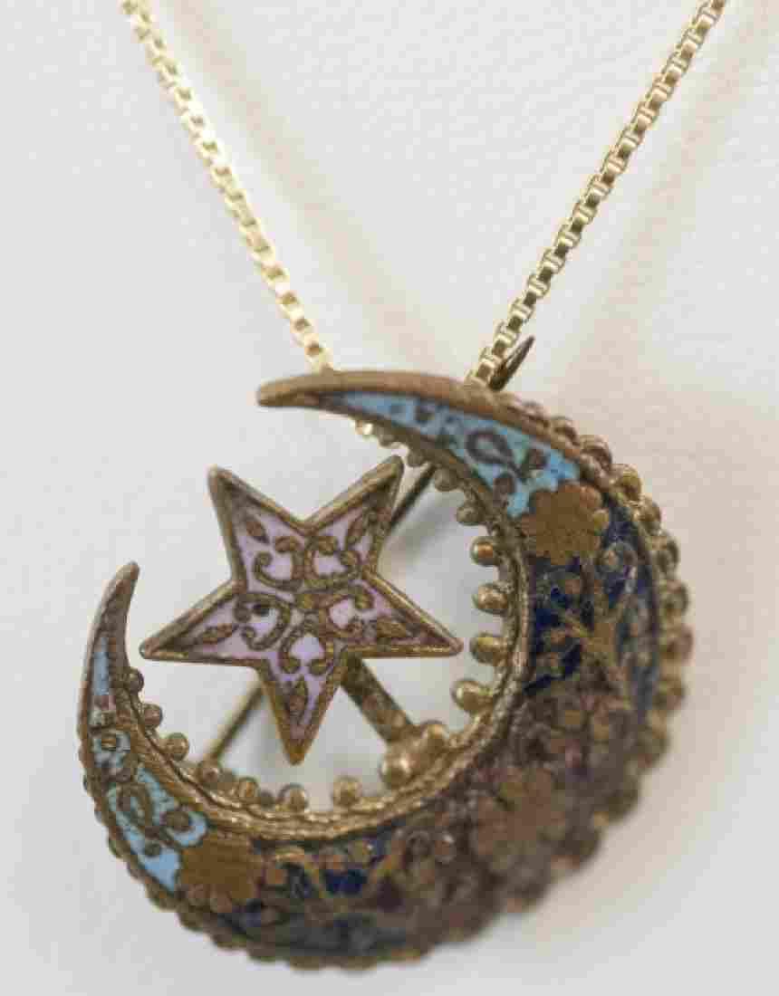 Antique 19th C Crescent Moon & Star Necklace