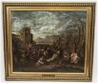 Antique 18th C Flemish Oil Painting on Canvas