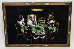 Vintage Dogs Playing Poker Felt Painting Signed