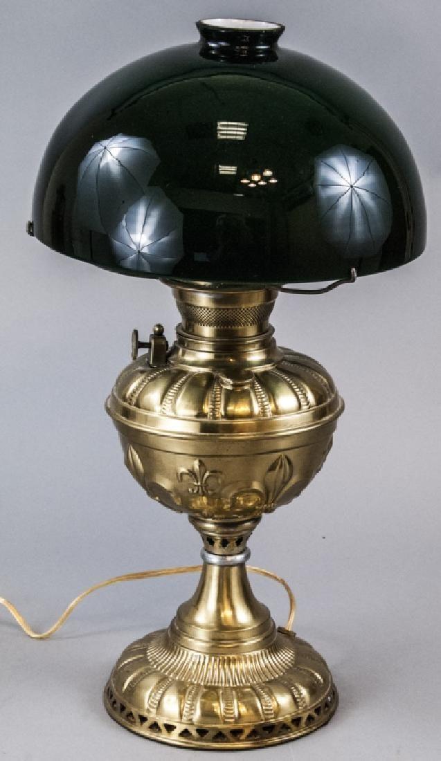 Vintage Brass Embossed P& A Royal Oil Lamp Conv.