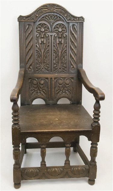 English Tudor Style Oak Carved Wainscot Chair