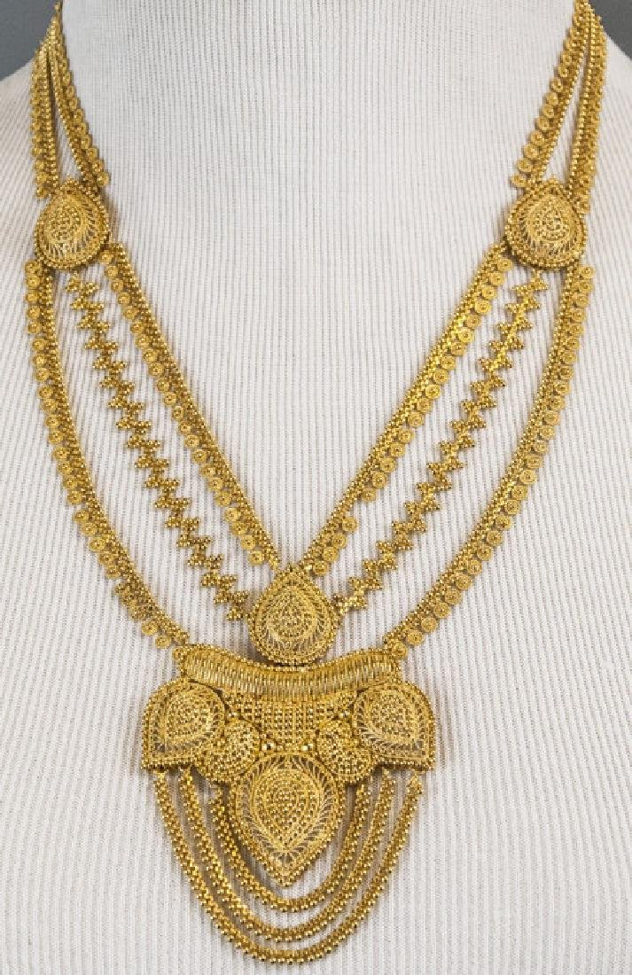 100 Gram Indian 22kt Yellow Gold Filigree Necklace