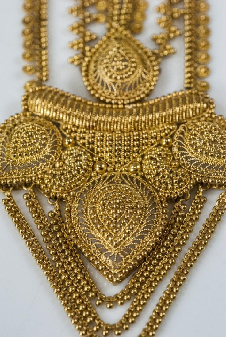 100 Gram Indian 22kt Yellow Gold Filigree Necklace - 2