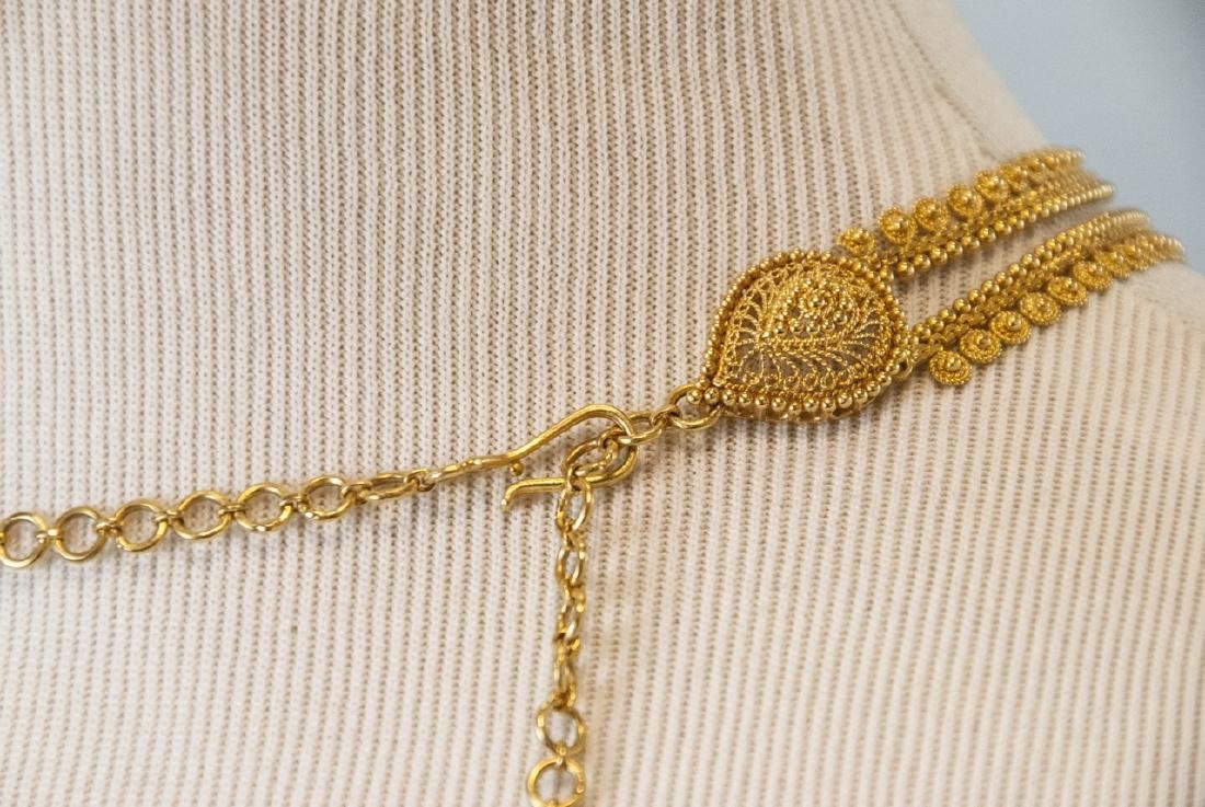 100 Gram Indian 22kt Yellow Gold Filigree Necklace - 9
