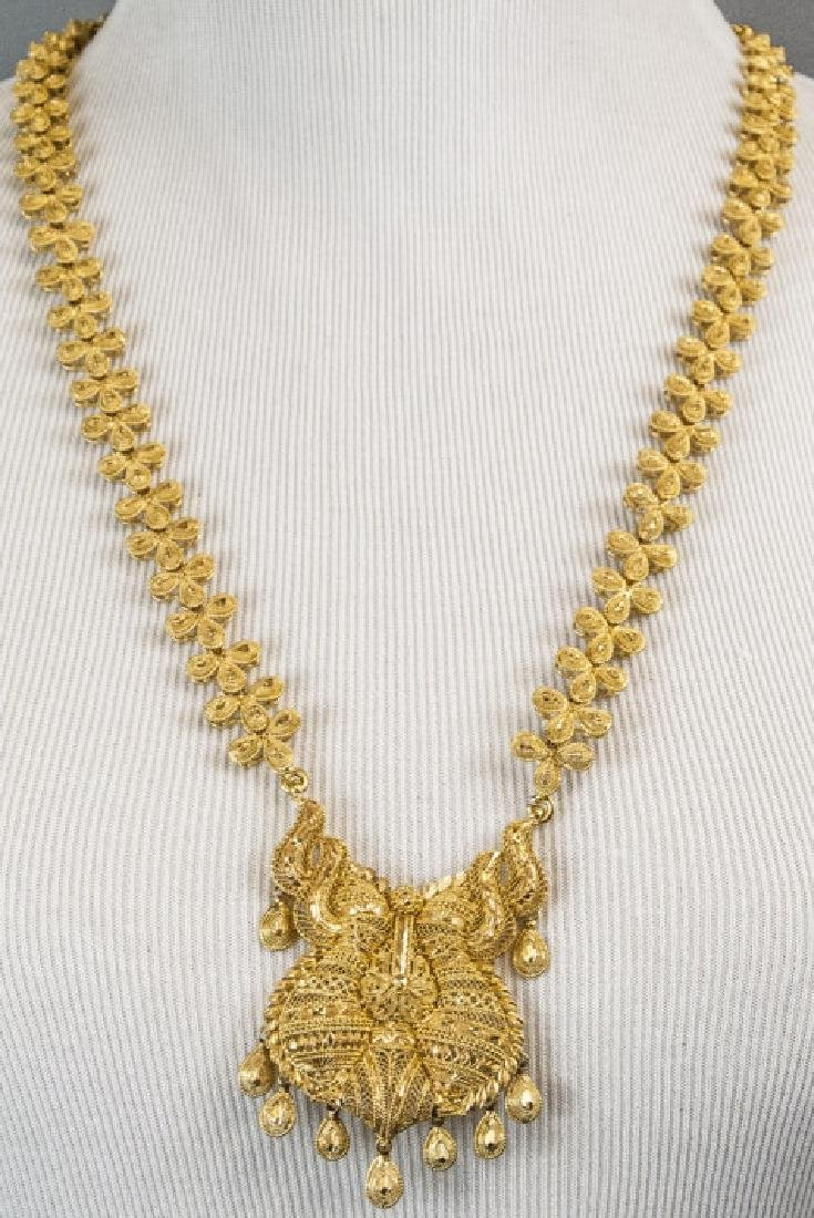 115 Gram Indian 22kt Yellow Gold Filigree Necklace