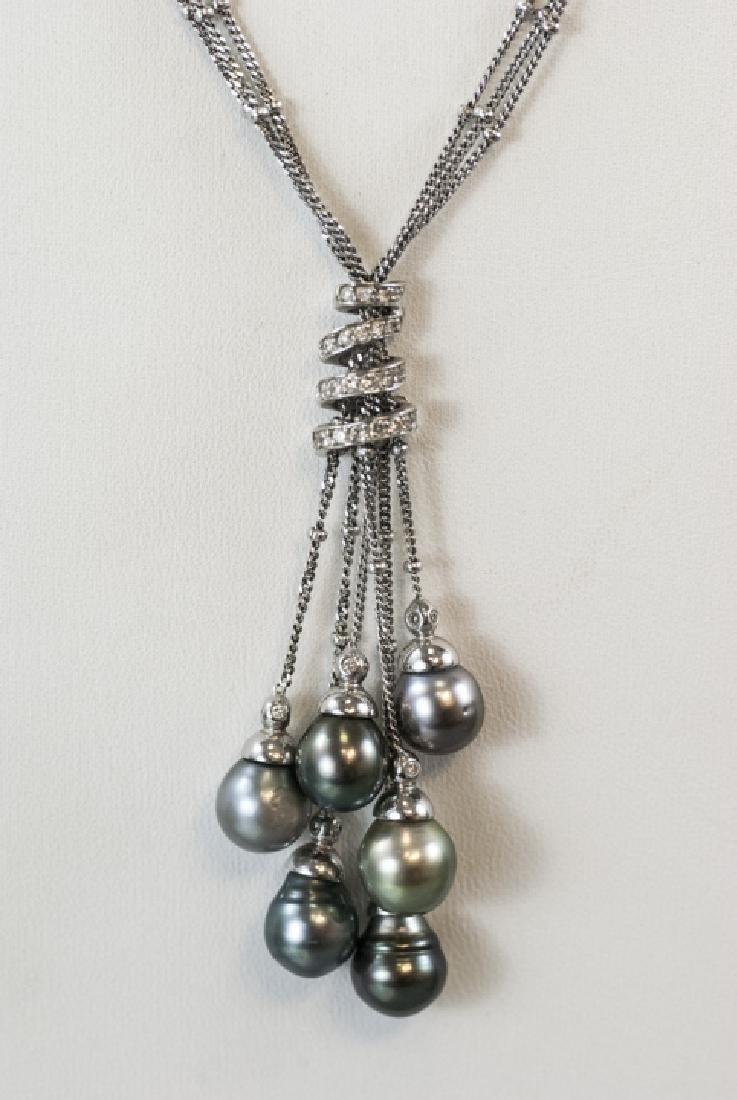 Yvel 18kt White Gold Diamond & Pearl Necklace