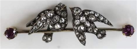Antique 19th C Rosecut Diamond & Ruby Bird Brooch