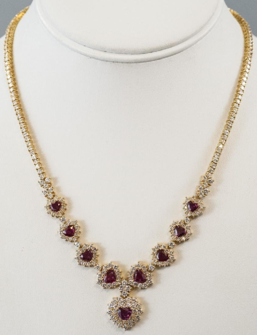 Estate 18kt Yellow Gold Ruby 7 Carat Diamond Necklace