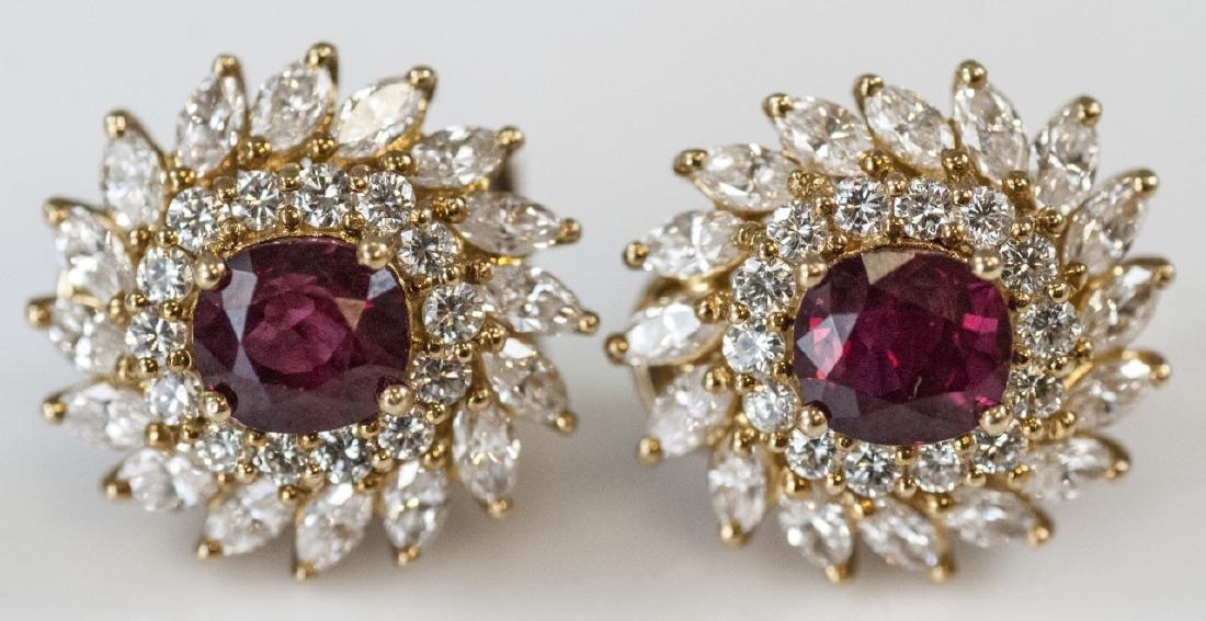 Estate 18kt Yellow Gold Ruby 2.5 Carat Diamond Earrings