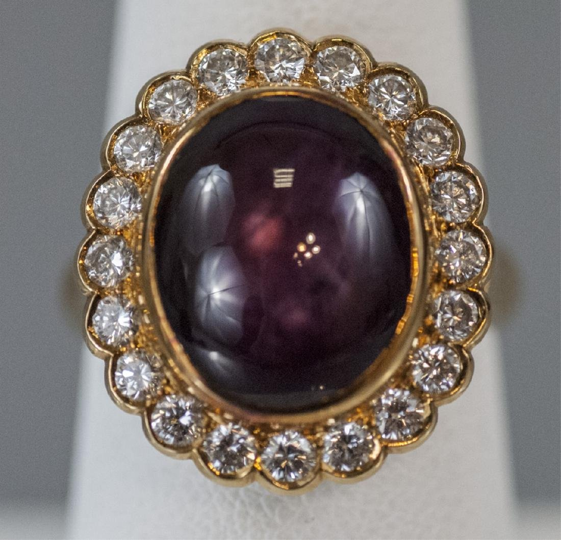Estate 18kt Yellow Gold Ruby & Diamond Ring