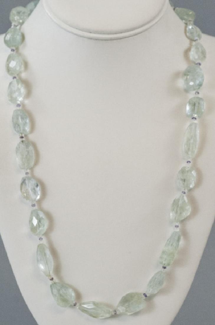 Estate Faceted Aquamarine & Amethyst Necklace
