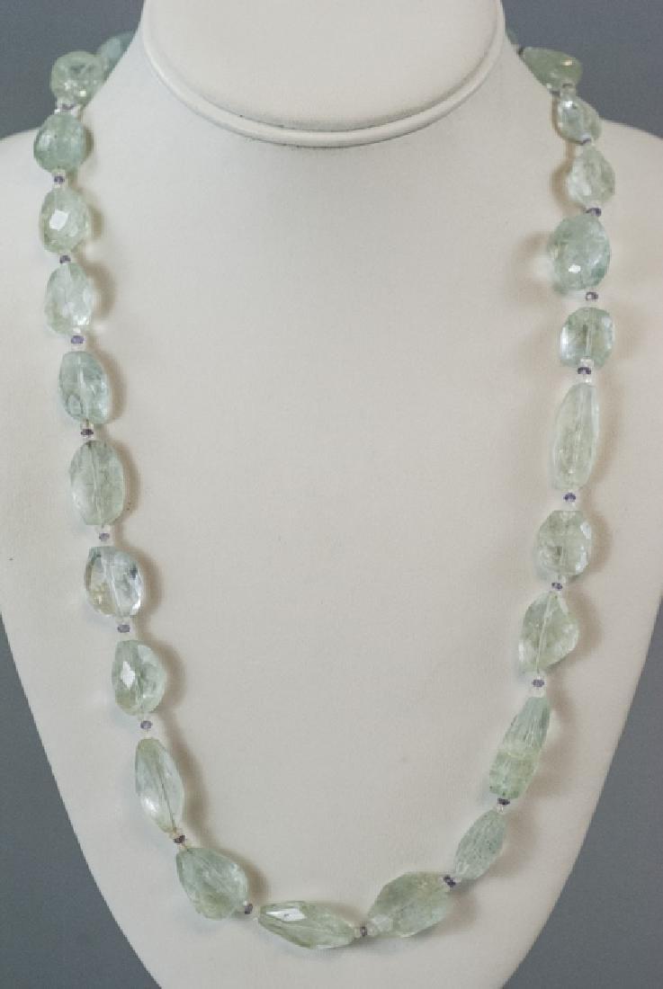 Estate Faceted Aquamarine & Amethyst Necklace - 2