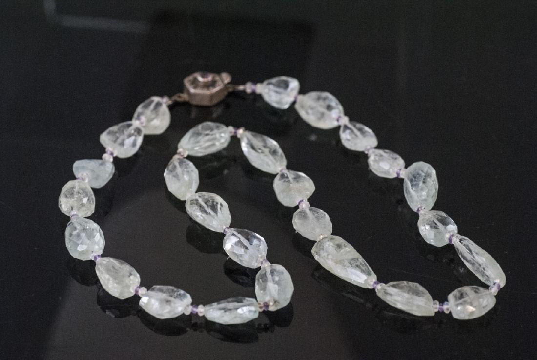 Estate Faceted Aquamarine & Amethyst Necklace - 5