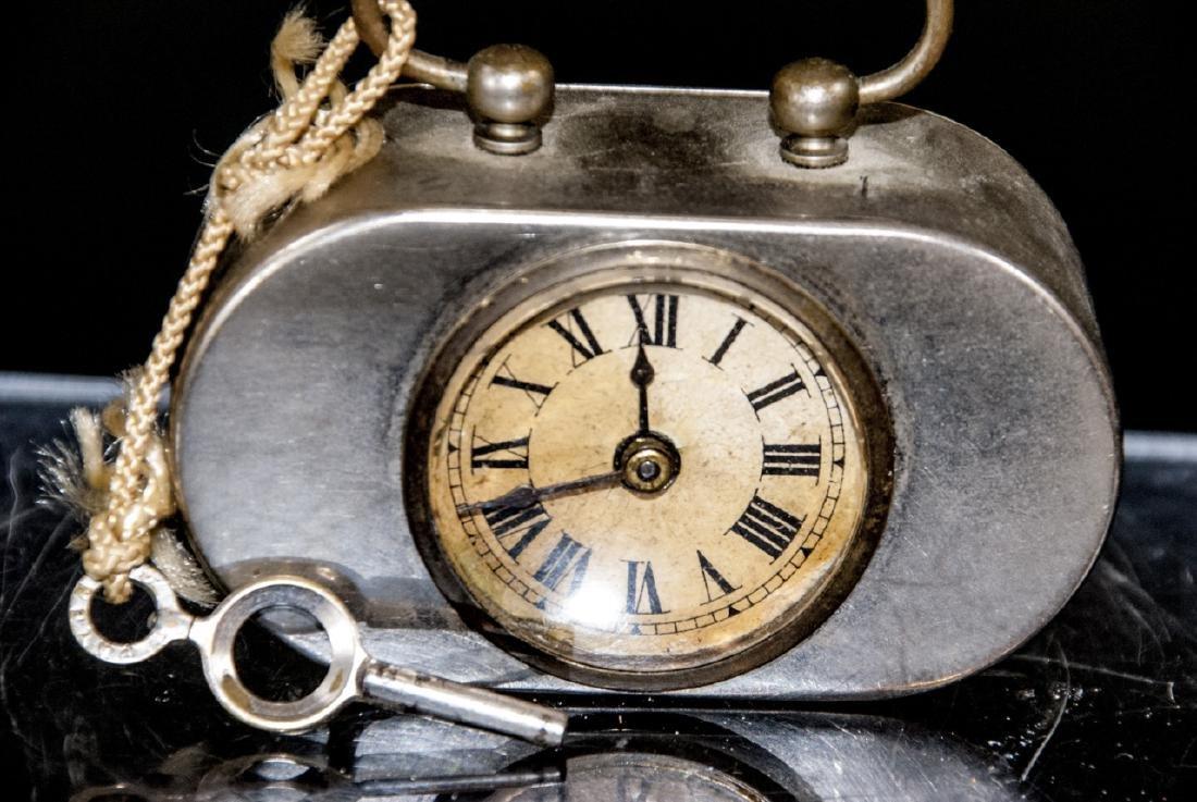 Antique Miniature Art Deco Clock w Original Key - 3