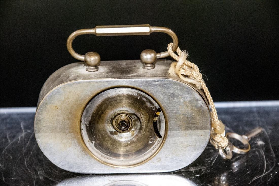 Antique Miniature Art Deco Clock w Original Key - 4