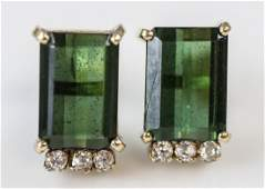 14kt Gold Diamond  Green Tourmaline Earrings