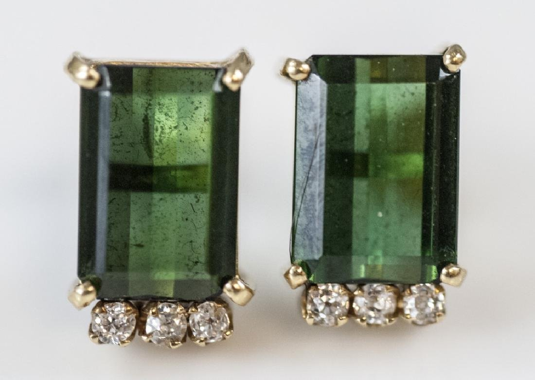 14kt Gold Diamond & Green Tourmaline Earrings