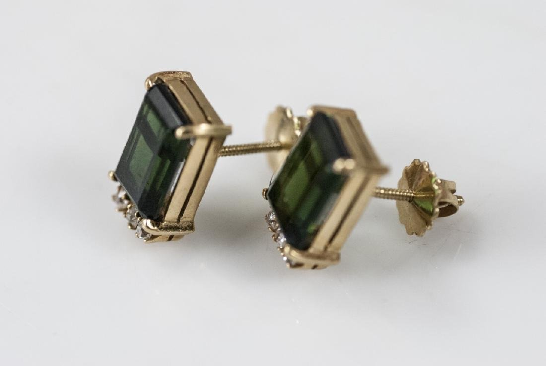 14kt Gold Diamond & Green Tourmaline Earrings - 3