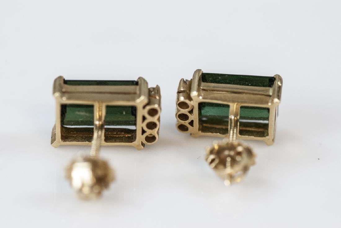 14kt Gold Diamond & Green Tourmaline Earrings - 4