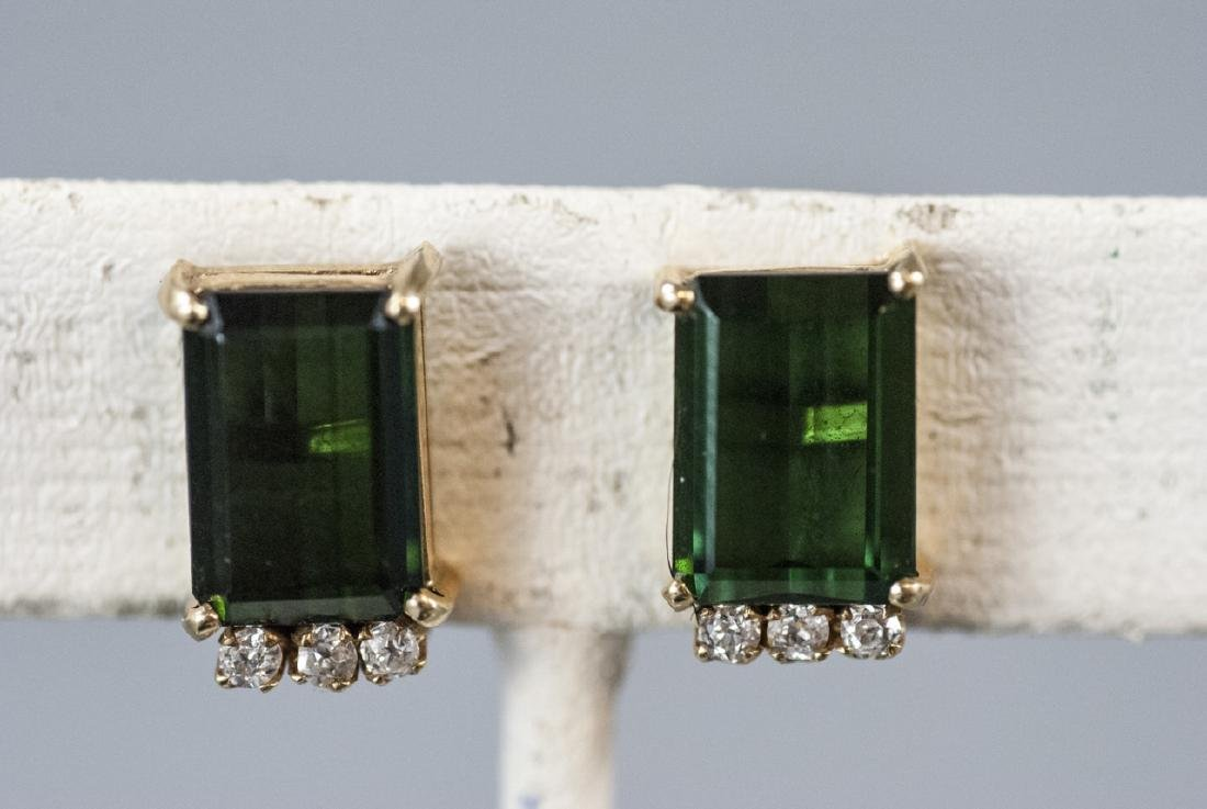 14kt Gold Diamond & Green Tourmaline Earrings - 5
