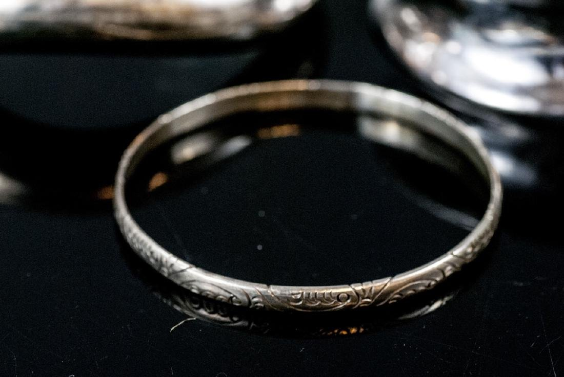 Three Sterling Silver Bangle Bracelets - 5