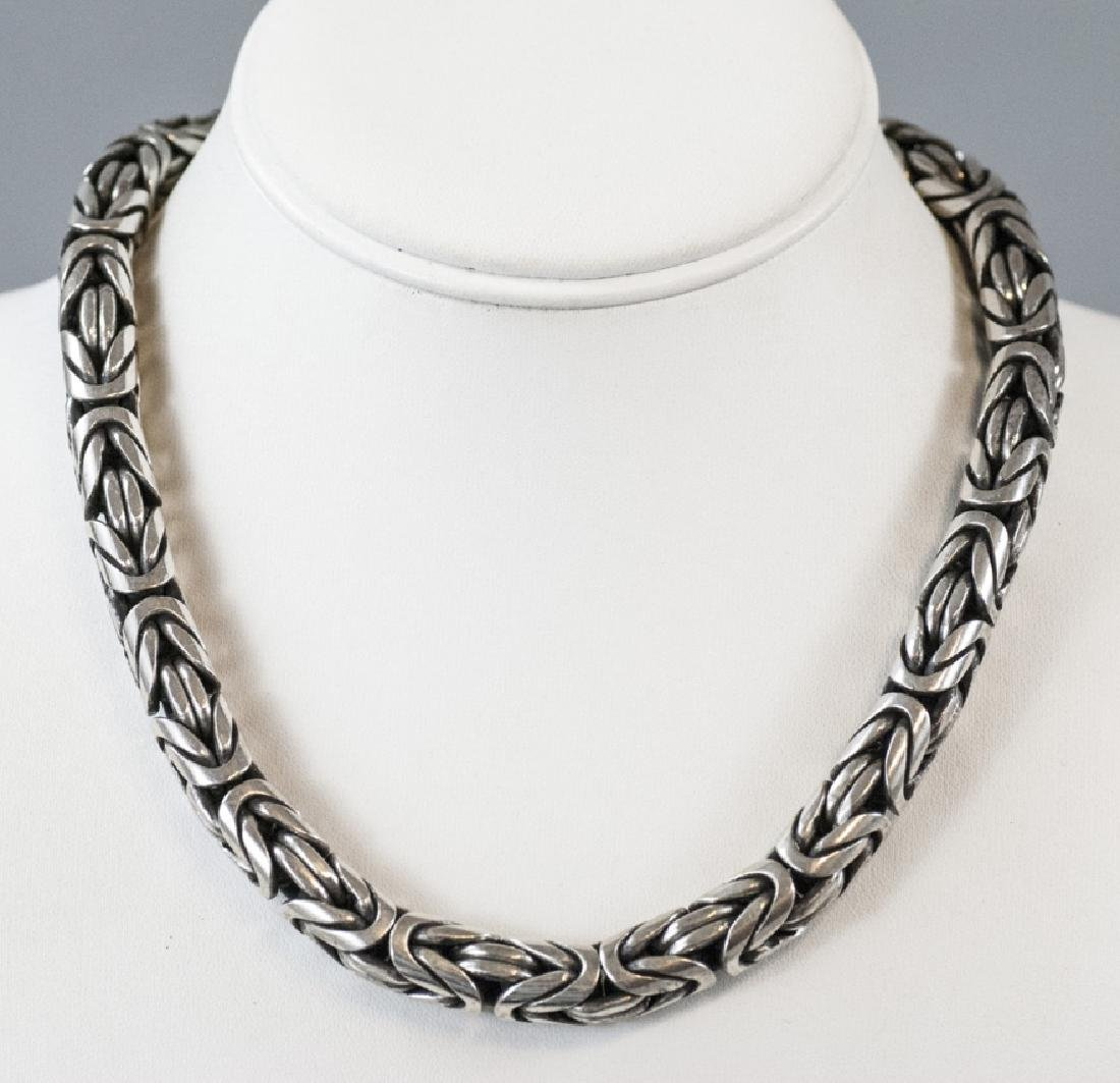 Estate Heavy Sterling Silver Woven Design Necklace
