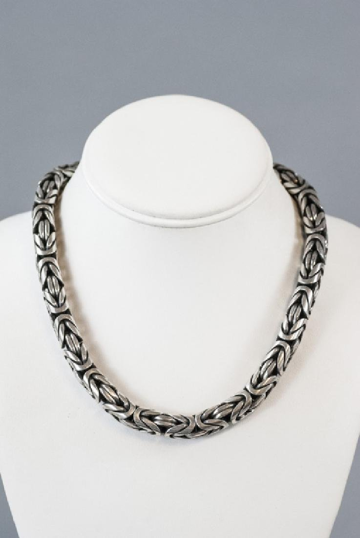 Estate Heavy Sterling Silver Woven Design Necklace - 5