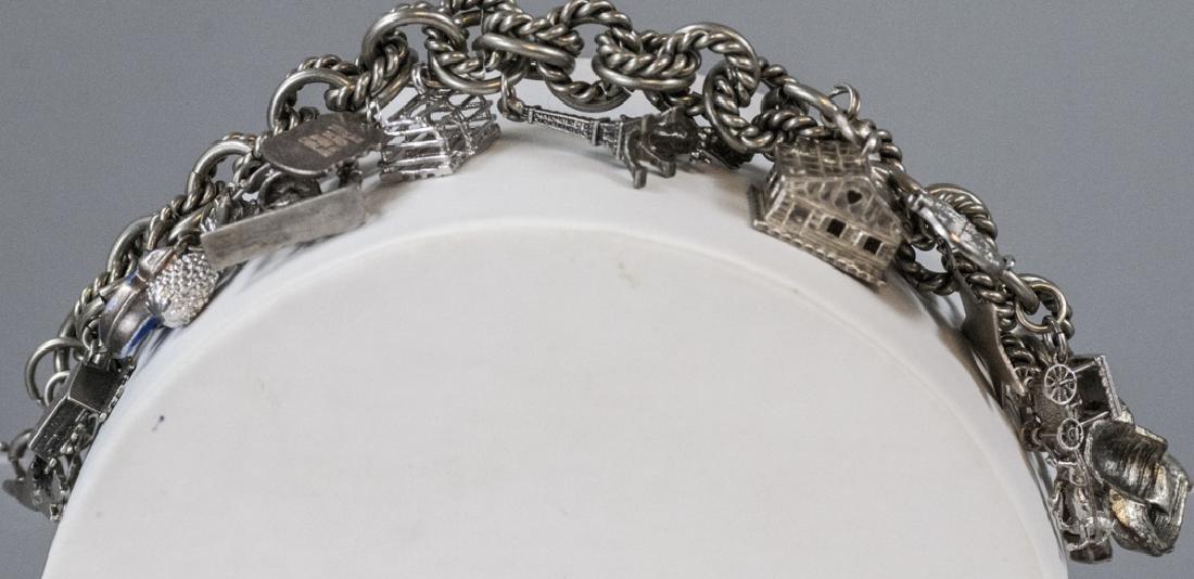 Vintage Sterling Silver Charm Bracelet w Charms