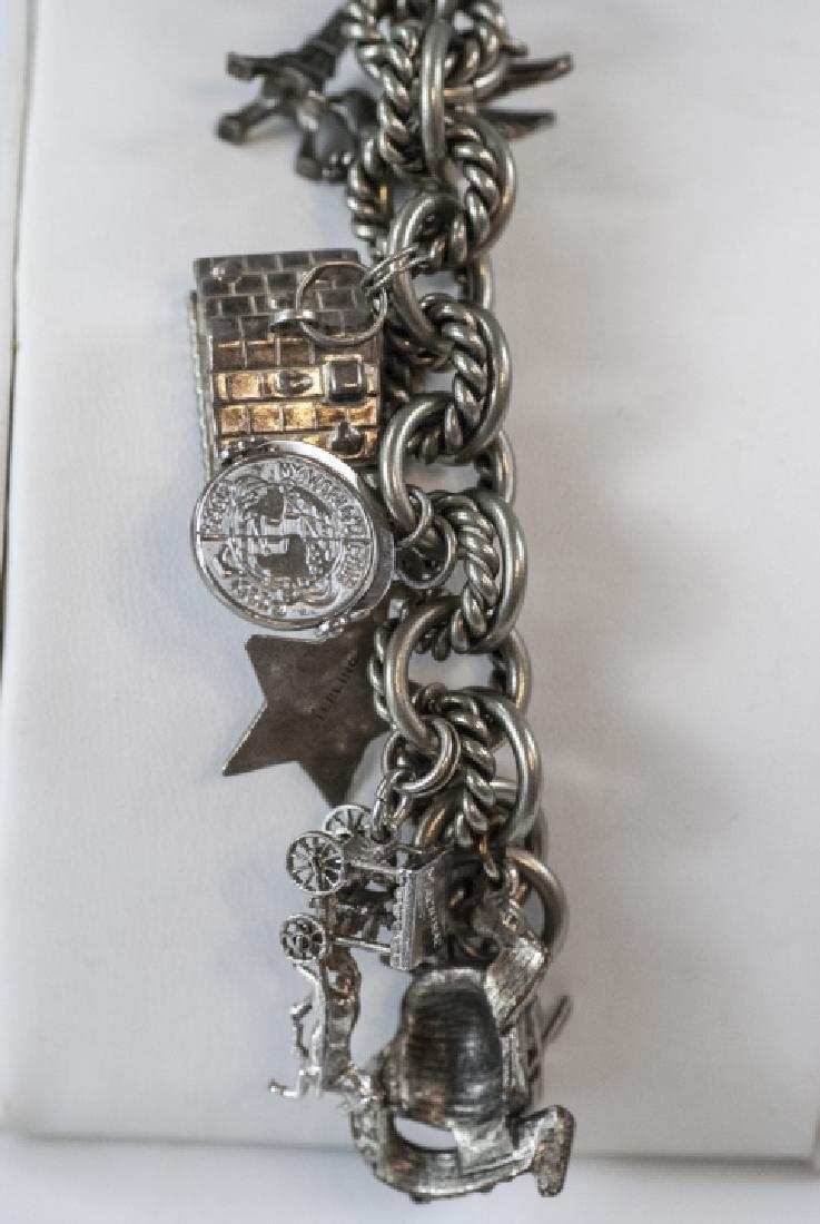 Vintage Sterling Silver Charm Bracelet w Charms - 2