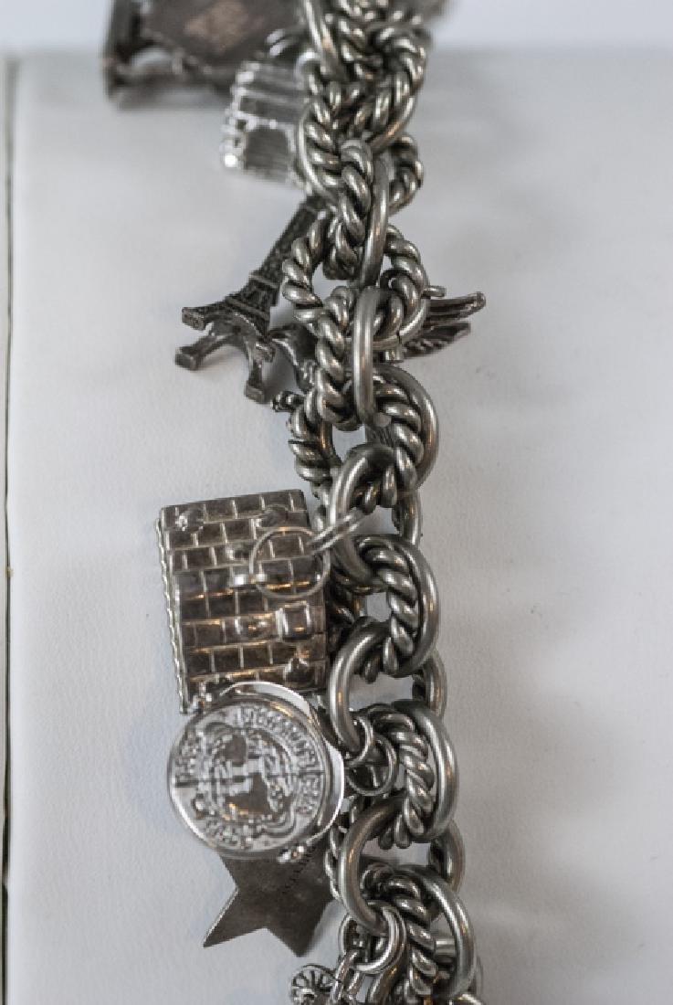 Vintage Sterling Silver Charm Bracelet w Charms - 3