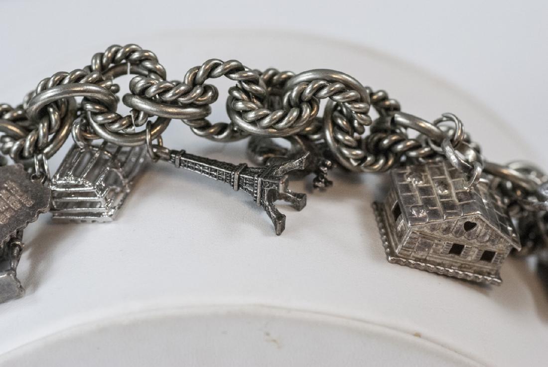 Vintage Sterling Silver Charm Bracelet w Charms - 4