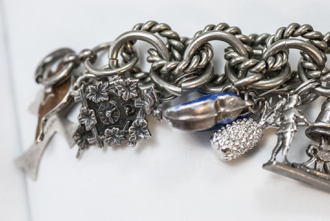 Vintage Sterling Silver Charm Bracelet w Charms - 7