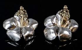 Large Pair of Vintage Sterling Silver Earrings