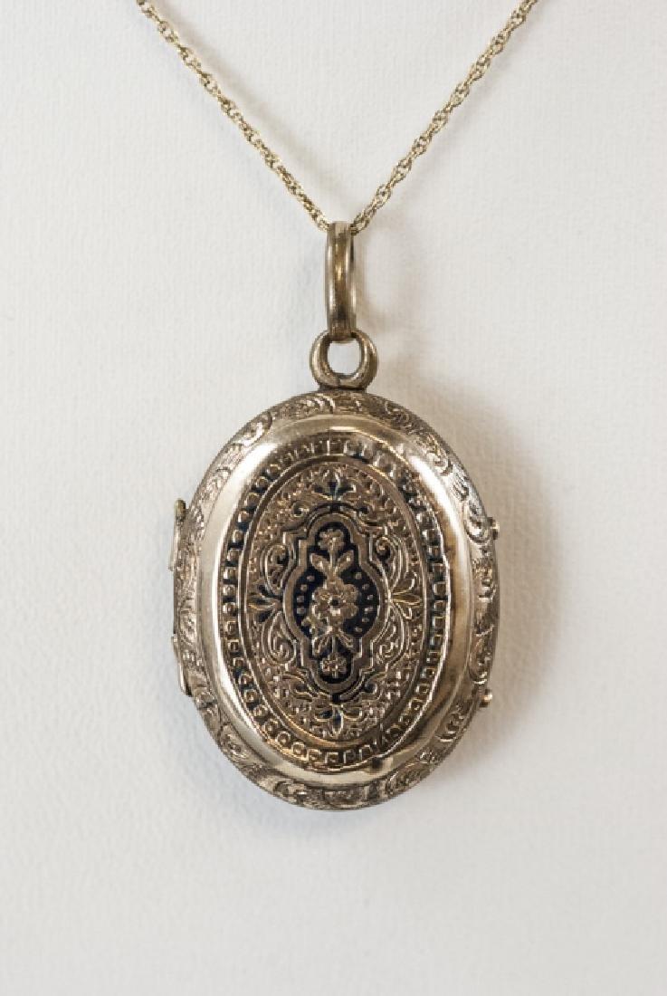 14kt Yellow Gold Chain w Antique 19th C Locket